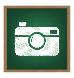 Digital photo camera sign white chalk effect on vector