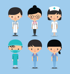 Doctor Nurse Team Characters vector image