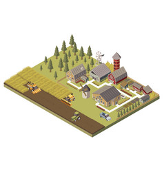 farm buildings and cultivated fields vector image vector image