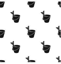 Fish in the bucket icon in black style isolated on vector