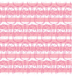 hand drawn doodle ice cream seamless pattern vector image vector image