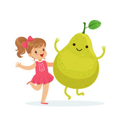 happy girl having fun with fresh smiling pear vector image vector image