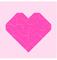 heart pink low polygon vector image vector image