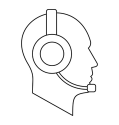 Man with a headset icon outline style vector