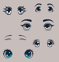 Manga eyes set vector