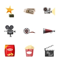 Movie theater icons set cartoon style vector image