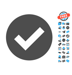Ok flat icon with free bonus elements vector