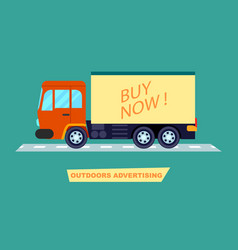 outdoor advertising on transport poster vector image vector image