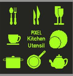 Pixel art kitchen utensil icons vector