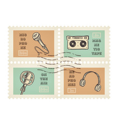 postage stamps of retro music equipment theme vector image