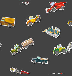 Seamless pattern with agricultural machinery vector