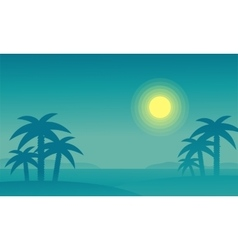 Silhouette of beach and palm at night vector image vector image