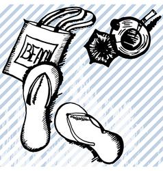 Summer retro hand drawn design card vector