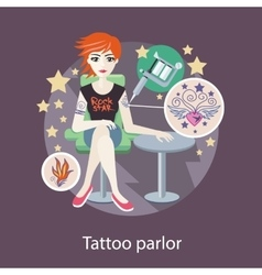 Tattoo parlor flat style design vector