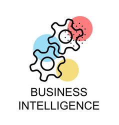 two gears for business intelligence on white vector image