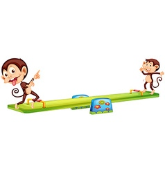 Two monkeys playing see-saw vector