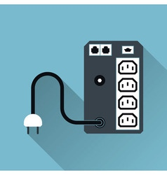 Ups uninterruptible power supply icon long shadow vector