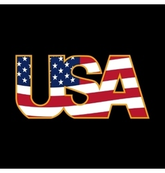 Us inscription stylized flag colors in a golden vector
