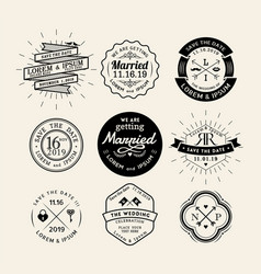 Vintage retro wedding logo frame design element vector