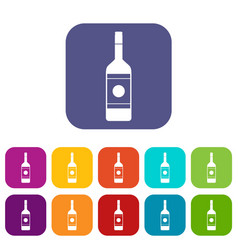 vodka icons set flat vector image vector image