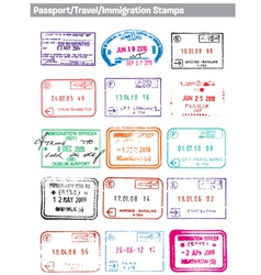 Passport travel immigration stamps vector