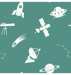 Seamless pattern with astronomy and space icons vector