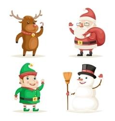 Elf Deer Snowman Santa Claus Cartoon Characters vector image
