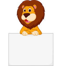 Cute lion cartoon holding sign vector