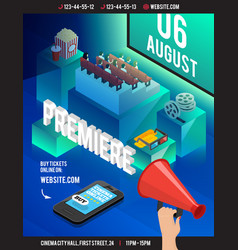3d cinema isometric flyer vector