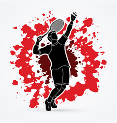 Man tennis player sport man pose serve vector
