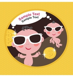 Cool babies with money vector