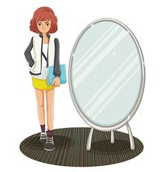 A schoolgirl standing beside the mirror vector image