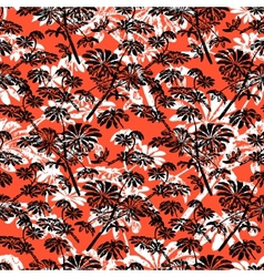 Pattern with tropical trees and leaves vector image