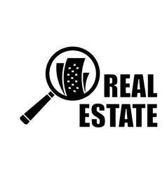 Real estate icon with magnifier lens vector