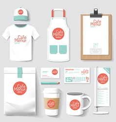 Restaurant cafe set flyer menu package t-shirt vector