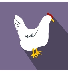 White hen flat icon vector