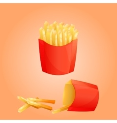French fries potato and red paper box vector