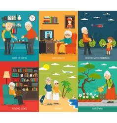 Old People 6 Flat icons Banner vector image