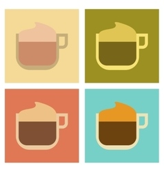 Assembly flat icons coffee with milk cream vector