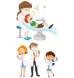 Male and female dentists with tools vector