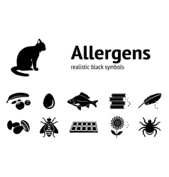 Allergen set fish cat insect chocolate vector
