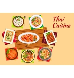 Asian cuisine dinner with thai dishes flat icon vector