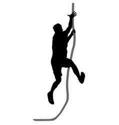 black silhouette mountain climber climbing a vector image vector image