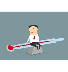 Businessman balancing between illness and health vector image vector image