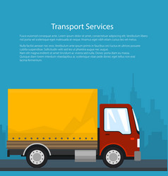 Cargo delivery truck poster design vector