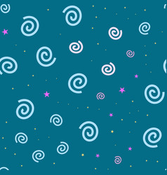 Cartooned seamless pattern with stars and clouds vector