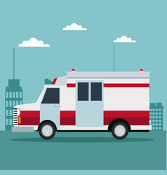 city landscape color background with ambulance vector image