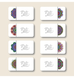 collection of ornamental floral business cards vector image vector image