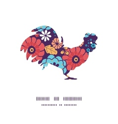 colorful bouquet flowers rooster silhouette vector image