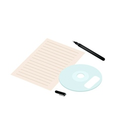 Compact Disc with Pen and Blank Paper vector image vector image